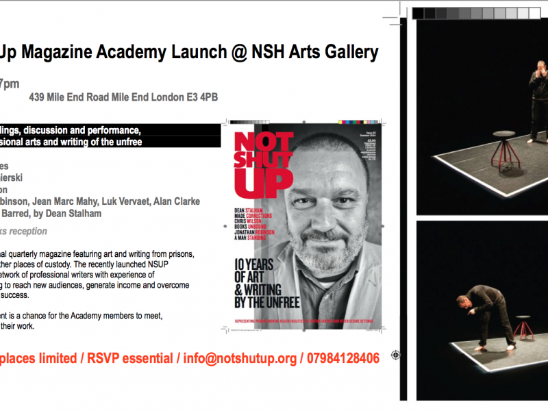 Not Shut Up Magazine Academy Launch @ NSH Arts Gallery INVITATION image