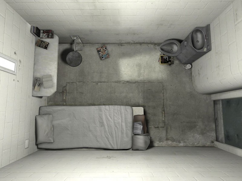 Solitary confinement cell from above